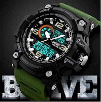 Reloj Multifunción Skmei 1283 Deportivo Extreme Antigolpe Acuático Militar Verde