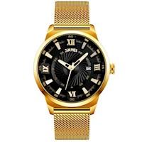 Reloj Cuarzo Skmei 9166 Analógico Moda Elegante Fecha Acero Inoxidable Acuático