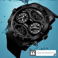 Reloj Skmei 1355 Doble Pantalla Digital Analógico Deportivo Acuático Moda Negro