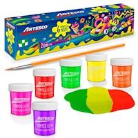 Témpera neón Artesco kids set x 6 colores + pincel (20 cc)