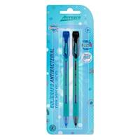 Lapicero antibacterial Trimax GL-32m x 2 (azul/negro) ARTESCO
