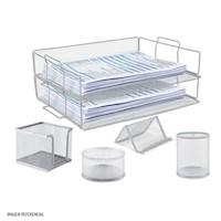 Set de escritorio metálico 6 piezas plateado