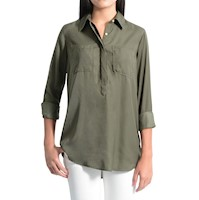 Camisa Manga Larga Color Siete para Mujer - Verde