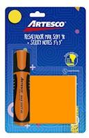 """Blist.Resaltador Max Soft 48 Naranja+Notas Adhe.3""""x3"""" 100H Naranja Neón"""