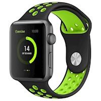 Correa Reloj Silicona Deportivo Apple Watch Band 42mm - Negro Verde