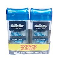 2 Desodorantes Gillette Clear Gel Proteccion Antibacterial 113 G Cada Uno
