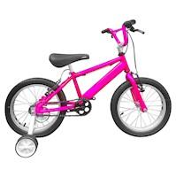 Bicicleta Infantil Niño Rin 16 Con Auxiliares - Fucsia Cyber