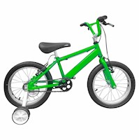 Bicicleta Infantil Niño Rin 16 Con Auxiliares - Verde Cyber
