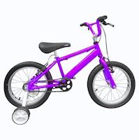 Bicicleta Infantil Niño Rin 16 Con Auxiliares - Morado Cyber