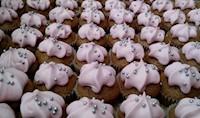 72 mini Cupcakes de coco con crema rosa