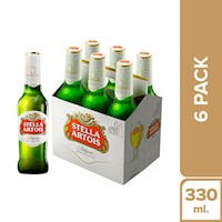 Stella Artois - Cerveza Stella Artois Six Pack Botella 330