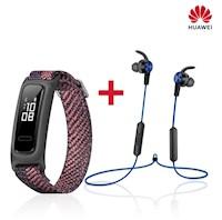 Huawei Band 4e rosado + audifonos sport bluetooth lite azul