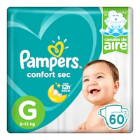 Pampers Pañales Confort Sec Pañales Desechables G 60 Unidades