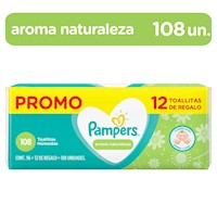 Pampers Toallitas Húmedas Aroma Naturaleza 108 unidades (+12 Gratis)