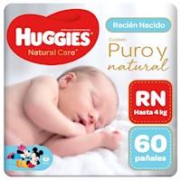 Pañal Huggies Natural Care Recién Nacido 60 unid