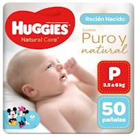 Pañal Huggies Natural Care Talla P 50 unid
