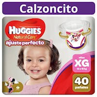 Pañal Huggies Natural Care Ajuste Perfecto Niña XG 40 unid
