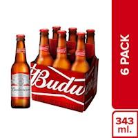 Budweiser  - Cerveza Budweiser Six Pack Botella 343Ml