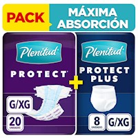 PACK Pañal Plenitud Protect G 20 unid + Protect Plus G 8 unid