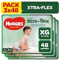 PACK Pañales Huggies Active Sec Talla XG ( 3 x 48 unid)