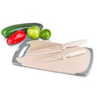 Tabla antibacterial Paja De Trigo + 2 cuchillos de mármol Chef Master
