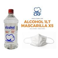 Alcohol CKF 1 litro - Mascarilla Tela Doble x5 und