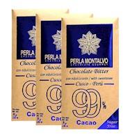 Chocolate Bitter. Pack de 3 tabletas de 70g cada una. Sugar Free.
