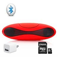 Altavoz Bluetooth S71 Rojo + Micro SD 4GB+ Cargador