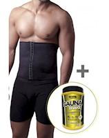 Sauna Shapers - Faja Cinturilla Broches Hombre + Malteada Proteica Vainilla