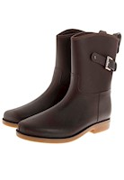 Botas De Lluvia Mediana Impermeable Top Buckle Cafe
