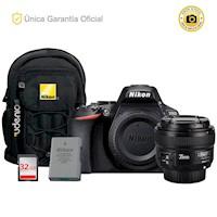 Nikon Oficial  D5600 Kit YN35 f2, batería adicional y mochila