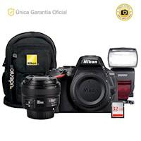Nikon D5600 Kit YN35 f2, flash YN510EX y mochila