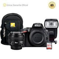 Nikon Oficial D5600 Kit YN50 f1.8, flash YN565EX III y mochila