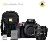 Nikon Oficial D5600 Kit YN50 f1.8, batería adicional y mochila