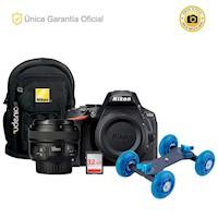 Nikon Oficial D5600 Kit YN50 f1.8, mini Dolly y mochila
