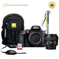 Nikon Oficial D5600 Kit YN50 f1.8, monópodo y correa de mano