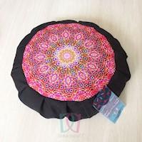 Divina Diseños  Cojín Zafu Para Yoga Y Meditación Mandala Felicidad Negro