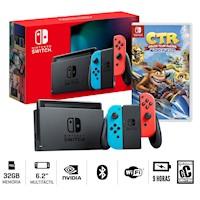 Nueva Consola Nintendo Switch neon 2019 + Crash Team Racing
