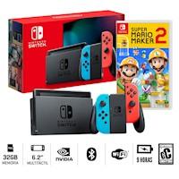 Consola Nintendo Switch 2019 Neon Bateria Extendida + Mario Maker 2