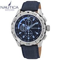 Reloj Nautica NST 101 Cronometro Correa De Cuero NAI19518G Plata Azul ae087d9b8aad