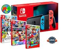 Nintendo Swich 2019 Bateria Extendida + SUPER SMASH + ODISSEY + KART
