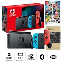 Nintendo Switch 2019 Neon Bateria + Super Smash Bro Ultimate + Mica