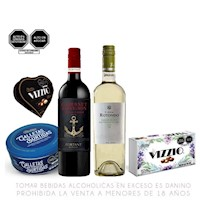 Pack Vino Sauvignon + Galletas + Chocolates
