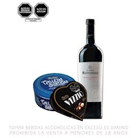 Pack Vino Tinto + Chocolate + Galletas