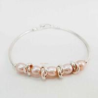 Pulsera con Perlas de río rosadas, Plata