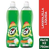 Pack x 2 de Lavavajilla Cif Líquido Limón Frasco 750 ml