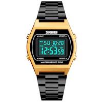 Reloj Skmei Vintage 9166 Cronómetro Acero Inoxidable Acuático Alarma