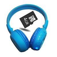 Kit Audifonos Cratos Bluetooth B570C - Azul Celeste + Micro SD 4GB