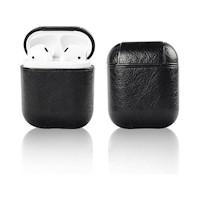 Case Funda Protector AirPods cuero con llavero auriculares Apple - Negro