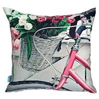 Divina Diseños  Cojín Decorativo Bici Tulipanes